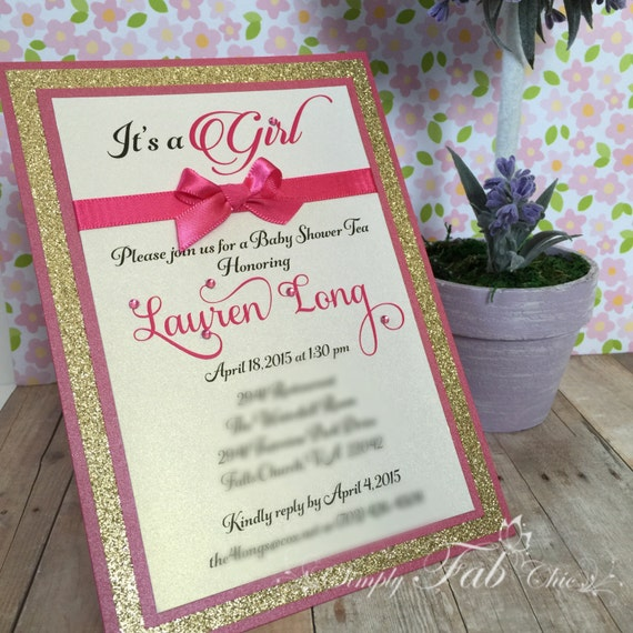 custom handmade hot pint gold glitter baby shower invitation simple