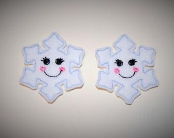 Set of 2 Smiling Snowflake Feltie Felt Embellishments