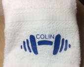 Personalized Gym Towel with Barbell - Workout towel