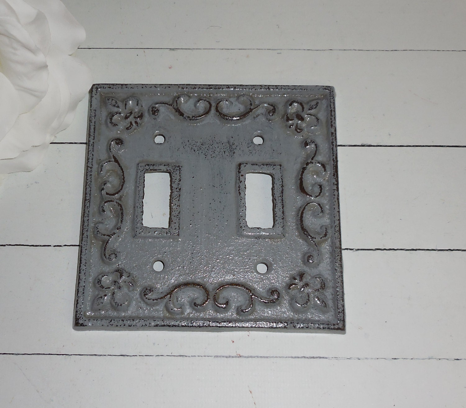 Gray Decorative Light Switch Plate Double Switch Cover