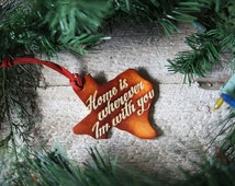 Leather Christmas Ornaments - Texas State Leather Christmas Tree Ornament - Home is Wherever Im With You - Gold Accent - Holiday Ornament