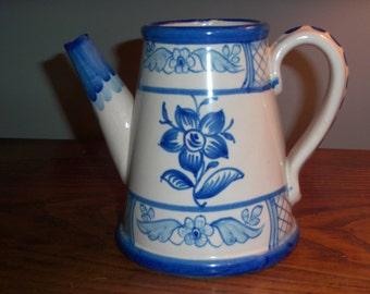 Vintage Portugal Ceramic Teapot Coffee Pitcher Blue