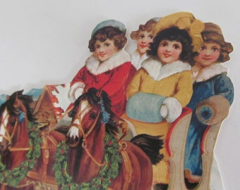 Victorian Children Horse Sleigh Ride Blank Christmas Card Vintage Xmas Card