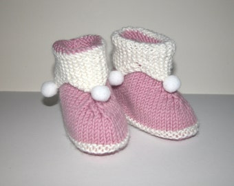 Hand Knitted Jester Baby Girl Booties. Very soft and Warm