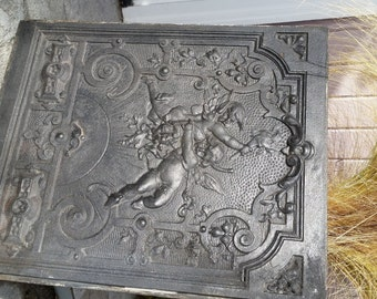 Ornate Victorian Cast Iron Fireplace Summer Cover With Cherubs - Late 1800's
