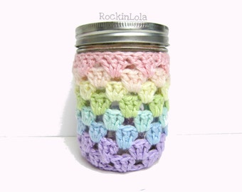 mason jar cozy - pastel rainbows - mason jar sleeve - pint 16oz - handmade by RockinLola