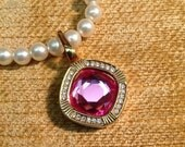 Swarovski signed SAL pink Austrian crystal pendant gold plated setting clip clasp retro Hollywood glam haute couture fashion jewelry