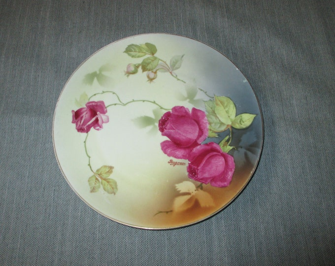 """PSAG Bavaria 8.5"""" Hand-Painted Plate, Dark Red Roses, Signed Ragouse, ca. 1920s"""