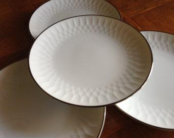 "Noritake China ""Sonoma"" White Embossed China Platinum Trim China Set of Four Dessert Bread Wedding Cake Plates"