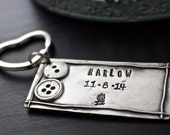 Newborn Key Chain | Personalized Gifts For New Moms | Push Presents | Engraved Keychain | Hand Stamped Gifts | Handcrafted From Fine Pewter