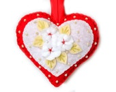"""Valentine's Day Ornament """"Heart"""" made out of felt. Decorated with beads. Heart cushion"""