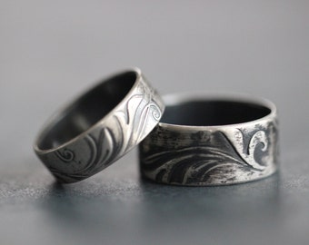 TENDRILS: Wedding Band Set, Wide Band, Rustic, Bohemian, Botanical, Embossed, His and Hers, Made To Order