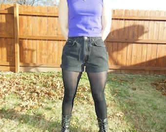 Vintage 1990's black denim cut offs.  High waist cut offs.