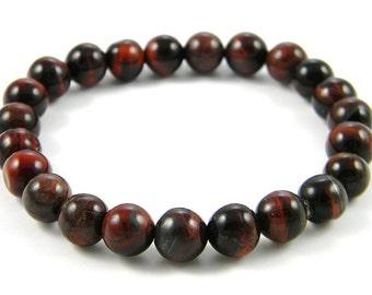 Red Tiger Eye Beaded bracelet (8mm) - Handmade