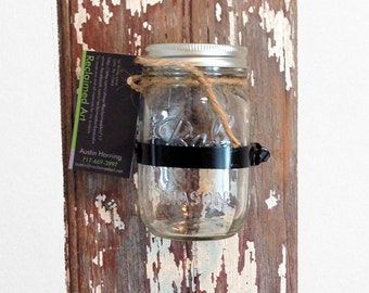 Set of 2 Mason jar wall sconce