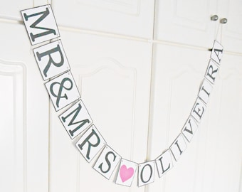 FREE SHIPPING, Mr & Mrs...customize your name banner, Bridal shower , Bachelorette party, Wedding banner, Engagement party decor, Gray pink