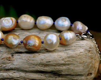 large golden multicolored raw pearl bracelet, purple thread hand tied