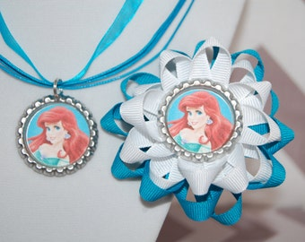 The Little Mermaid Bow and Necklace Set