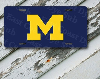 "License Plate Michigan University Design on 6"" x 12""  Aluminum License Plate"