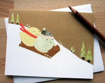 CARD: Birds Bobsledding in Snow; Blank Card; Winter, Holiday, Season's Greetings