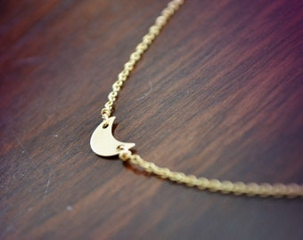 moon crescent necklace /// tiny 14k gold-filled moon crescent sideways necklace /// simple everyday jewelry
