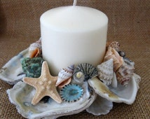 """Oyster shell candle holder with 3"""" candle. Seashell candle ring for your nautical home."""