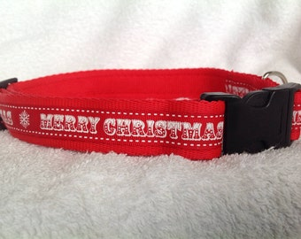 Handmade Merry Christmas Dog Collar - Various Sizes