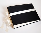 Large Scrapbook Album or Wedding Guest Sign in Book Black Fabric Covered Anniversary Book