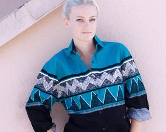 vintage western top, blouse, button down with southwestern print by Roper