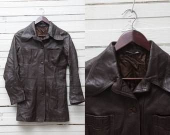 True Vintage Brown Leather Button Up Jacket / Size XS Very Small Motorcycle Jacket / Biker Jacket / Brown Leather Coat / 70s Leather Jacket