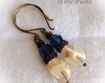 Vintage Givre German Glass, Montana Blue Swarovski, Earrings, Repurposed, Vintage, Baroque Jewelry by WinterPearlsDesigns Winter Pearls