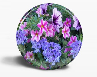 PHOTO Button Magnet - Flowers Galore - OOAK - 2.25 Inch Round