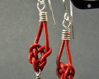 Celtic heart knot red leather earrings