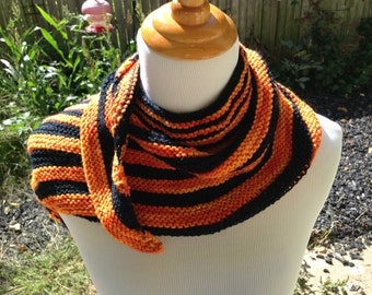 Asymmetrical Striped Shawlette for Fall or Halloween