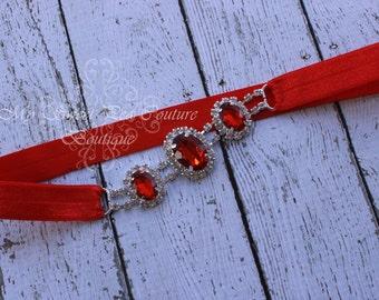 Red Rhinestone Headband ~ Luxe Couture Rhinestone Headband- Rhinestone Headband- Ruby Headband- Newborn Headband- Photo Prop