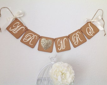 Mr and Mrs banner Wedding banner rustic wedding sign