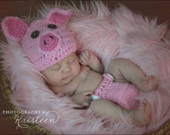 Newborn crochet pig hat and diaper cover