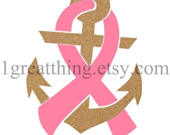 Hope Anchor Cancer Car Decal - Cancer Awareness - benefits American Cancer Society