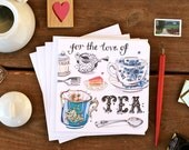 tea notecards. teacups. stationery. set of 4. tea time. cuppa. writing set.