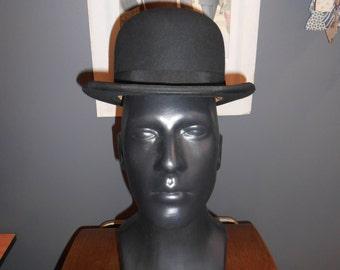 Men's vintage derby bowler hat 7 1/8 black wool unmarked brand