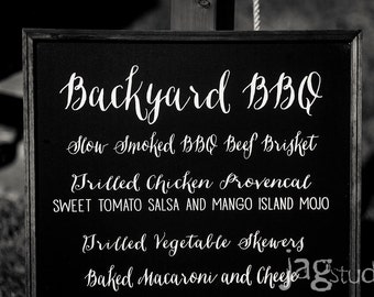 Rustic Chalkboard Wedding Menu - Large - 17x35 - CB-4