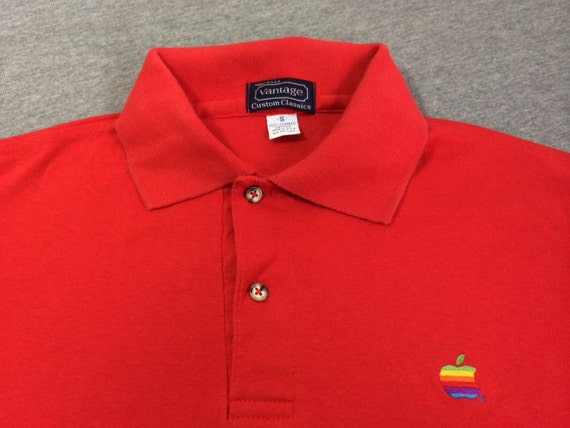 Vintage apple 80 39 s polo t shirt original embroidered sewn for Employee shirts embroidered logo