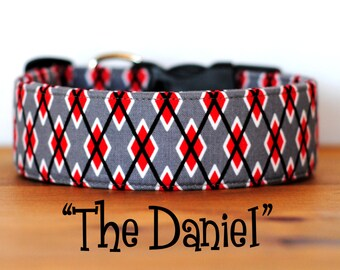 "Grey & Red Argyle Dog Collar ""The Daniel"""