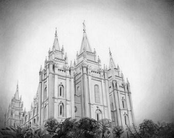 Salt Lake City LDS Temple - Archival Art Print