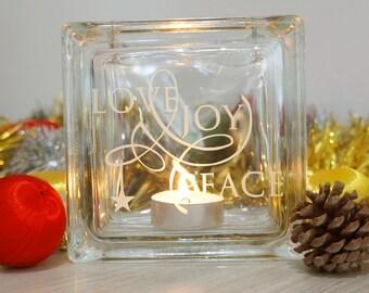 Peace Love Joy Christmas candle holder