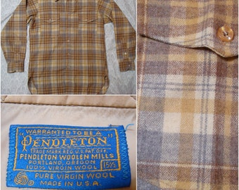 Vintage Men's Pendleton Tan Blue Brown Plaid Pure Virgin Wool Long Sleeve Buttonup Shirt Medium 15.5
