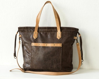 Brownish bag Tote Bag with Leather Details / Antik Look / Large for Women