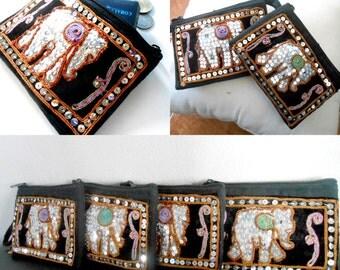 Elephant Hemp Coin Pouch Zipper Coin Change Purse sequin embroidered Thailand Handmade (KP1003)