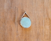 SALE - Recycled silver and round ceramic pendant in pale blue