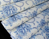 Vintage French cotton fabric with Blue Wild roses very retro, new condition
